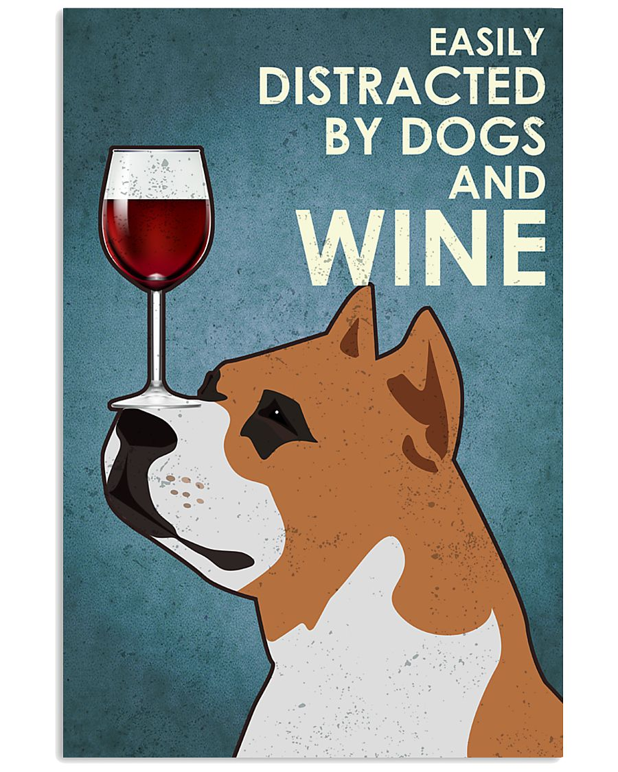 Dog Staffordshire Bull Terrier And Wine 16x24 Poster