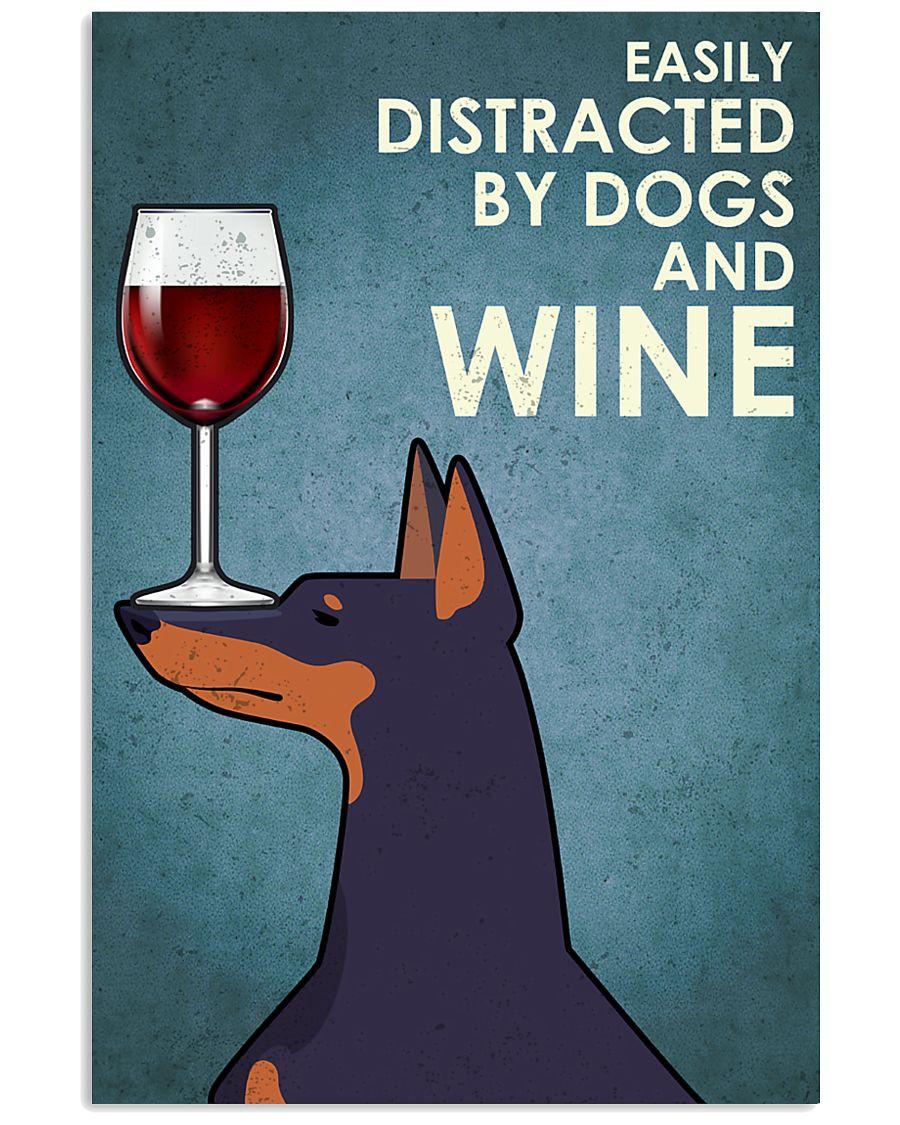 Dog Doberman And Wine 16x24 Poster