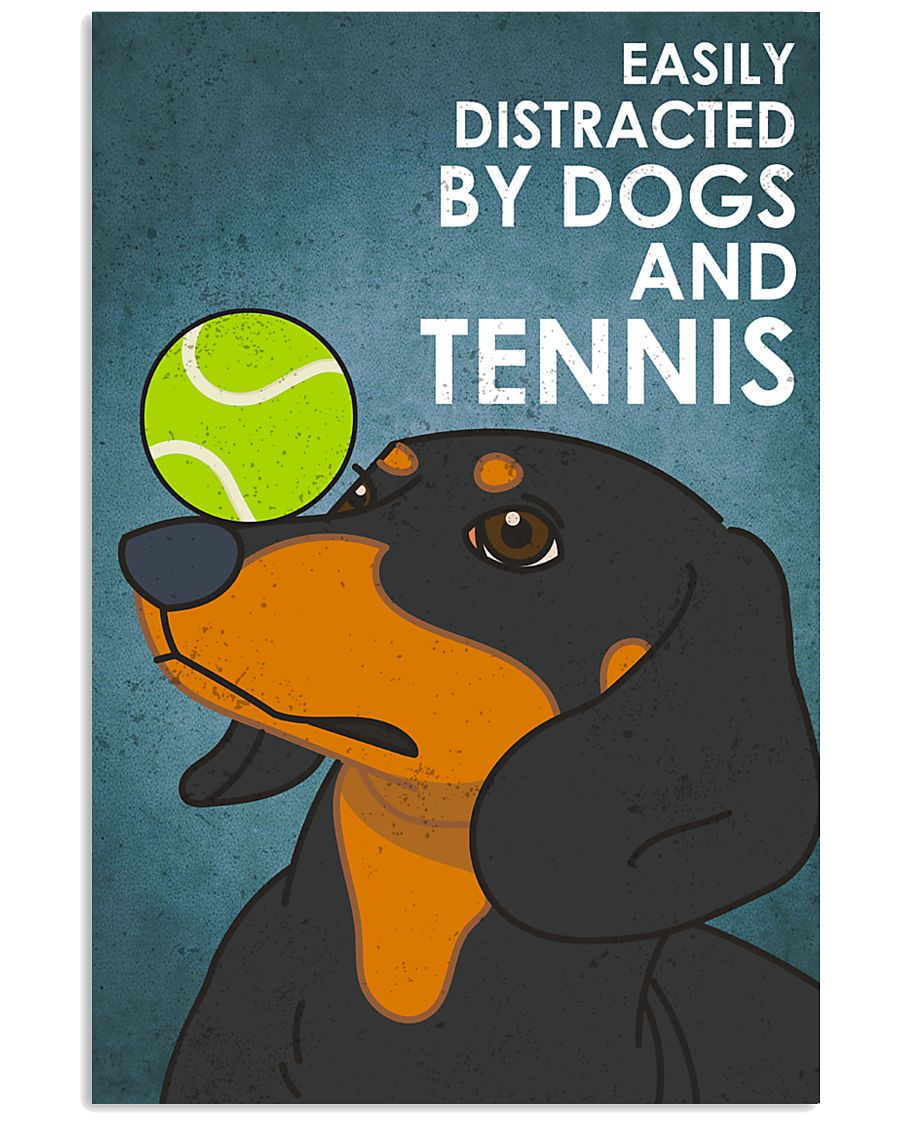 Dog Dachshund And Tennis 16x24 Poster