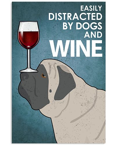 Dog English Mastiff And Wine