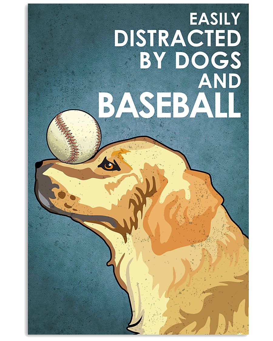 Dog Golden And Baseball 16x24 Poster