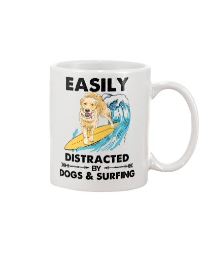 Dog Labrador And Surfing