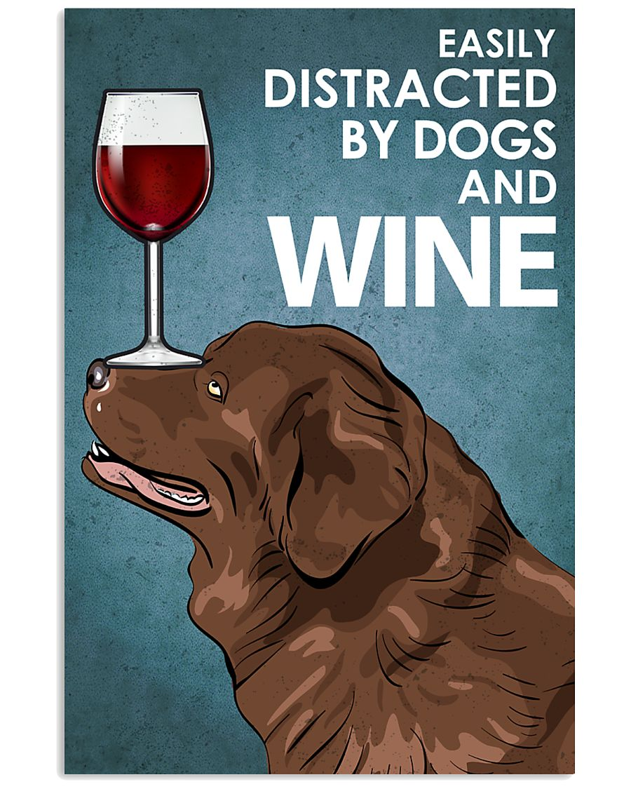 Dog Newfoundland And Wine 16x24 Poster