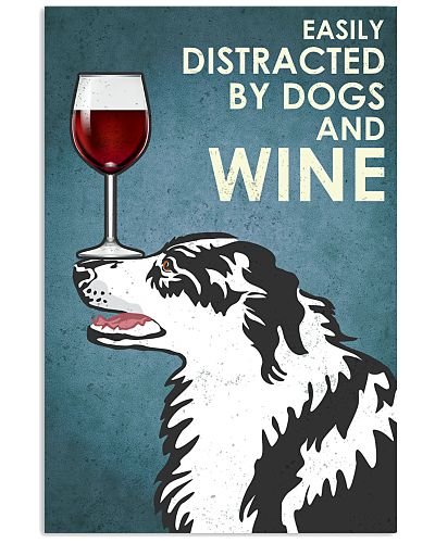 Dog Border Collie And Wine