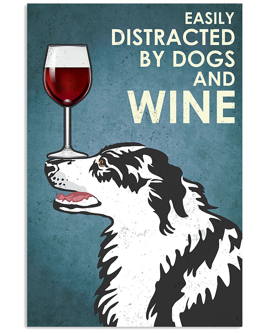 Dog Border Collie And Wine 16x24 Poster