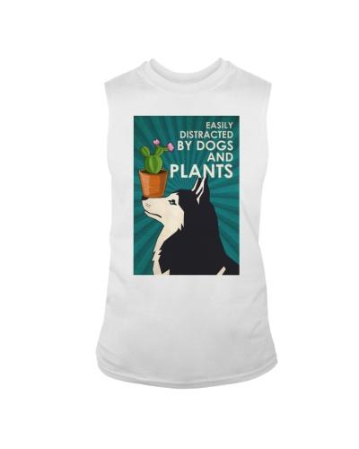 Dog Husky And Plants