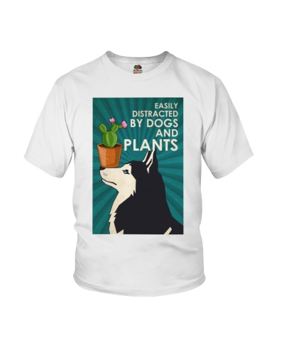 Dog Husky And Plants