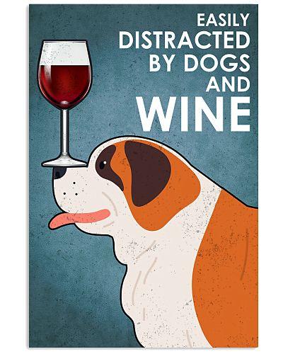 Dog St Bernard  And Wine