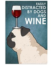 Dog Pug And Wine 16x24 Poster front