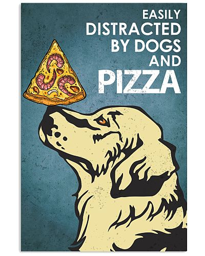 Dog Golden And Pizza