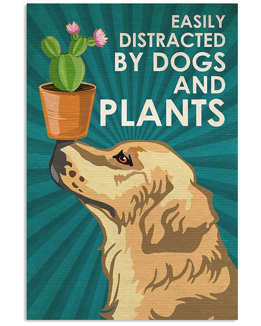 Dog Golden And Plants 16x24 Poster
