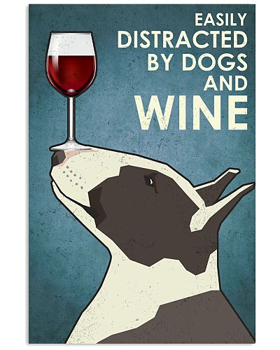 Dog Bull Terrier And Wine