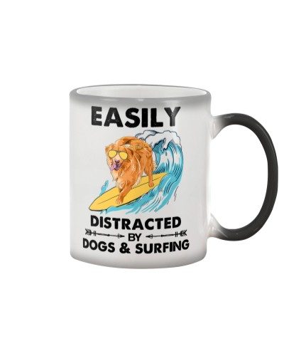 Dog Golden And Surfing