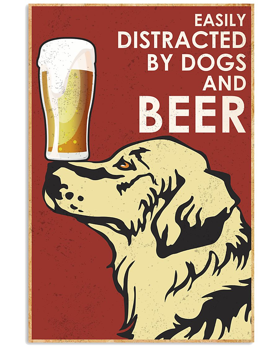 Dog Golden And Beer 16x24 Poster