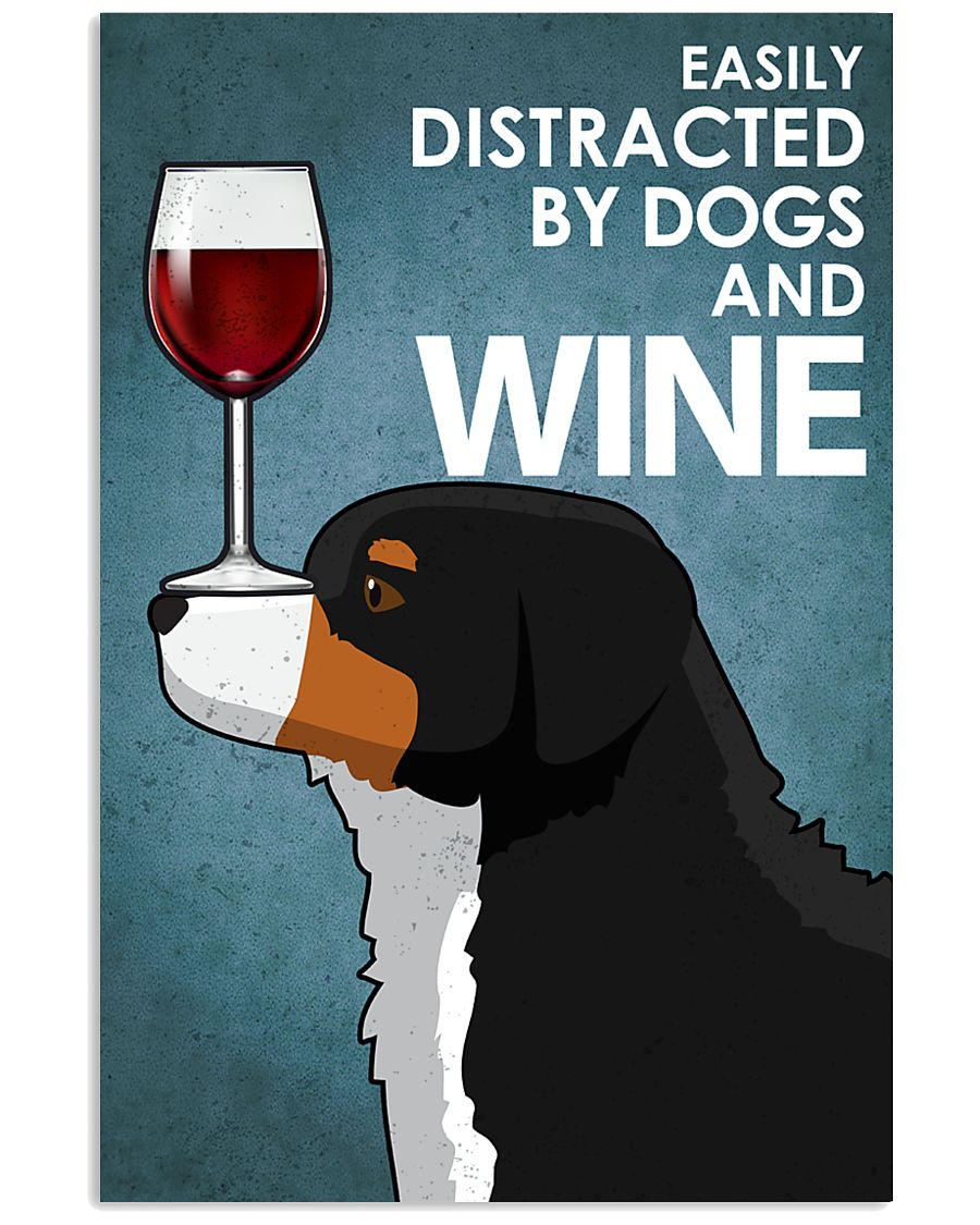 Dog Bernese Mountain And Wine 16x24 Poster