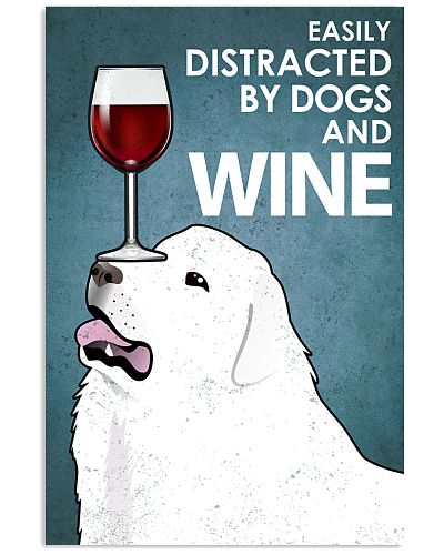 Dog Great Pyrenees And Wine