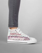 Flamingo god says you are Women's High Top White Shoes aos-complex-men-white-high-top-shoes-lifestyle-outside-right-11