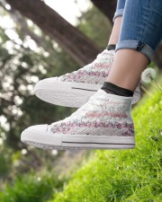 Flamingo god says you are Women's High Top White Shoes aos-complex-women-white-top-shoes-lifestyle-01