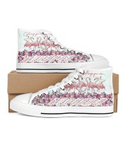 Flamingo god says you are Women's High Top White Shoes outside-right-inside-right