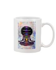 Black woman meditation Mug tile