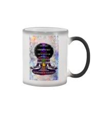 Black woman meditation Color Changing Mug tile