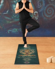 I'm mostly peace love and light Yoga Mat 24x70 (vertical) aos-yoga-mat-lifestyle-03