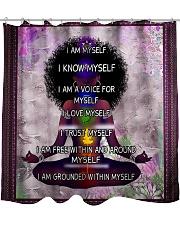 Black woman meditation Shower Curtain tile