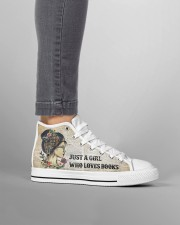 Just a girl who loves books Women's High Top White Shoes aos-complex-men-white-high-top-shoes-lifestyle-outside-right-11