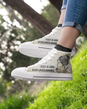 Just a girl who loves books Women's High Top White Shoes aos-complex-women-white-top-shoes-lifestyle-01