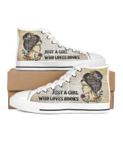 Just a girl who loves books Women's High Top White Shoes outside-right-inside-right