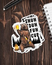 Camping bear shuh duh fuh cup Sticker - 6 pack (Vertical) aos-sticker-6-pack-vertical-lifestyle-front-05