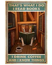 Rabbit read book and know things 24x36 Poster front