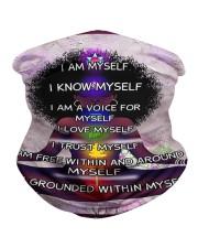 Black woman meditation Neck Gaiter tile