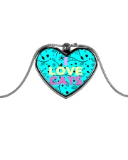 I Love Cats Necklaces Metallic Heart Necklace front