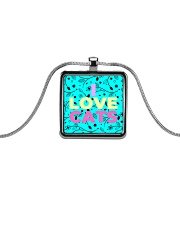 I Love Cats Necklaces Metallic Rectangle Necklace thumbnail
