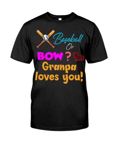Baseball Or Bows Gender Reveal Grandpa Loves