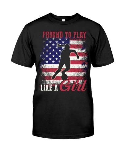 American Flag Proud To Play Like a Girl USA