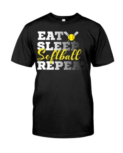 Funny Eat Sleep Softball Repeat Cute Girls Gift