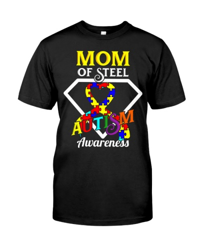 Mom of steel autism awareness puzzle ribbon