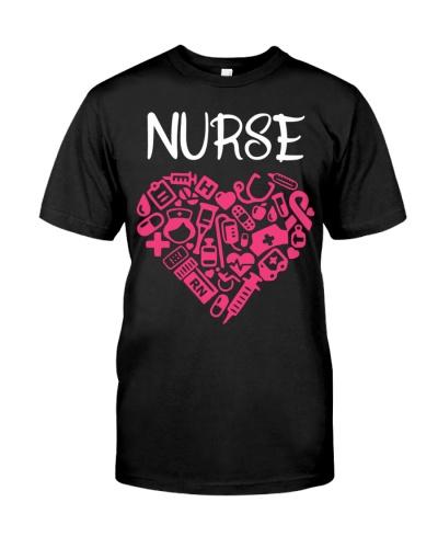 Nurse nursing heart gifts tee