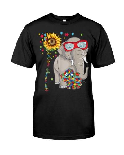 ELEPHANT PUZZLE RIBBON AUTISM AWARENESS T SHIRT