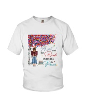A girl and her books living life in peace Youth T-Shirt thumbnail