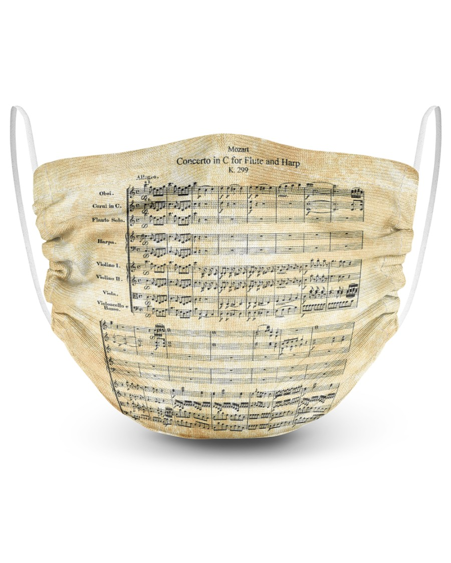 Concerto for Flute and Harp Mozart 2 Layer Face Mask - Single