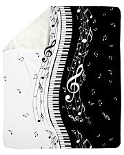 "Black White Piano Music Note 2 Sherpa Fleece Blanket - 50"" x 60"" thumbnail"
