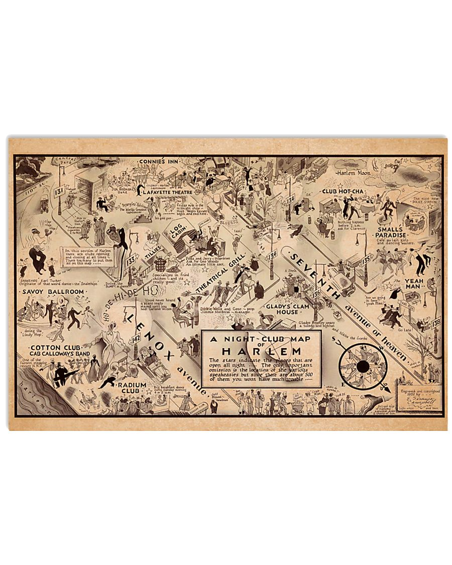 A Night Club Map of Harlem 17x11 Poster