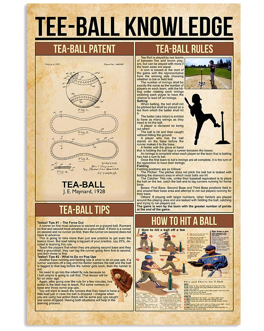 Tee-ball knowledge poster 11x17 Poster