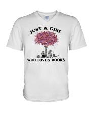 Just A Girl Who Loves Books Read V-Neck T-Shirt thumbnail