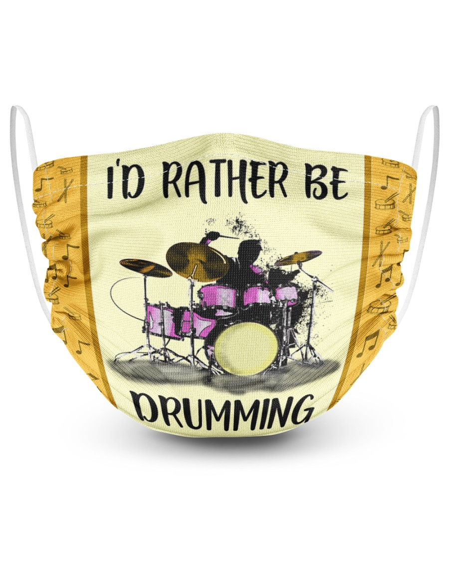 Id Rather Be Drumming 2 Layer Face Mask - Single