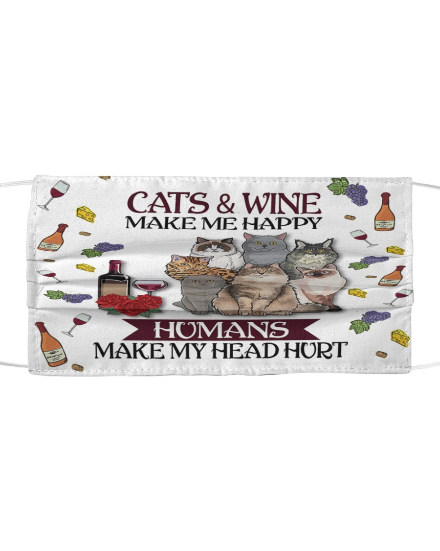 Cats wine make Cloth face mask