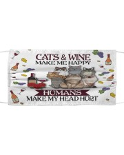 Cats wine make Cloth face mask front